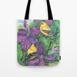 Goldfinches and Purple Clematis Tote Bag