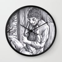 abigail larson Wall Clocks featuring Hannibal - Abigail and Will  by Furiarossa