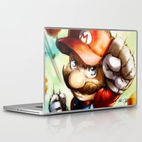 super mario Laptop & iPad Skins featuring Super Mario by markclarkii