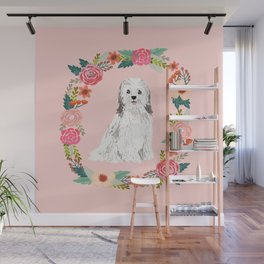 havanese floral wreath spring dog breed pet portrait gifts Wall Mural