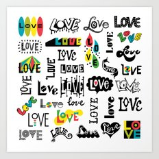 More Love Words Art Print