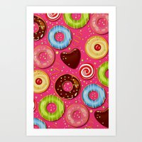 donut Art Prints featuring DONUT by Ylenia Pizzetti