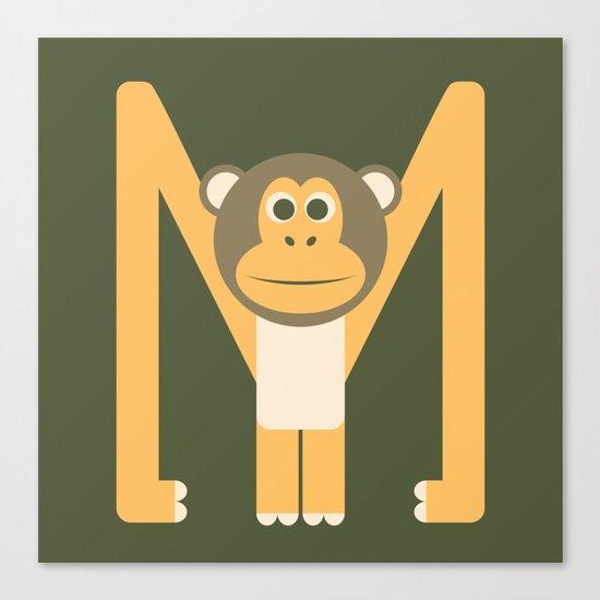 Letter M // Animal Alphabet // Monkey Monogram Canvas Print