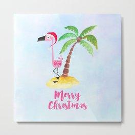 Pink Flamingo and Palm Tree Christmas Illustration Metal Print