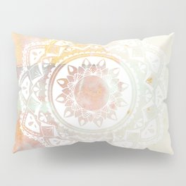 Warrior white mandala on pink Pillow Sham