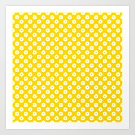 60s Ditsy Daisy Floral in Sunshine Yellow Art Print