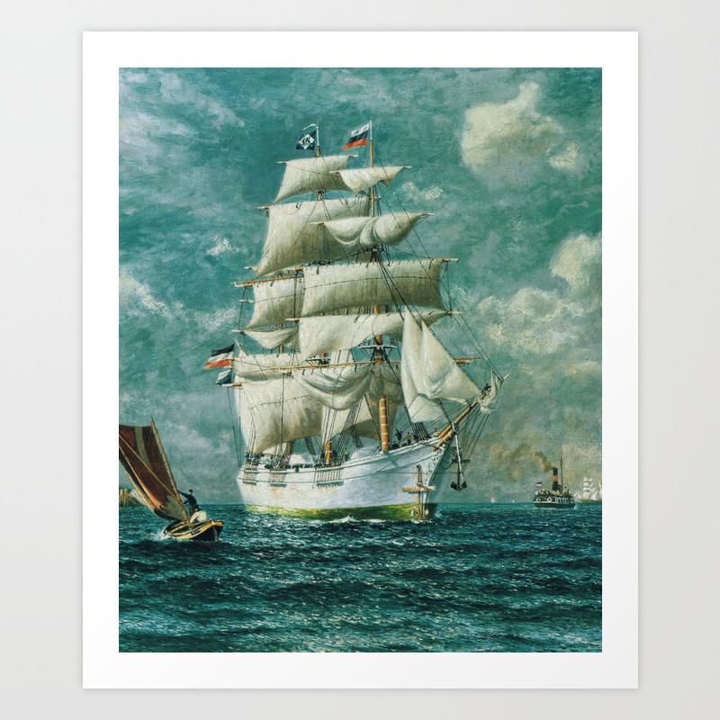 Vintage Large White Sailboat Painting 1895 Art Print By Bravuramedia Society6