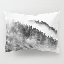 Minimalist Foggy Black And White Forest Mountain Ominous Minimalist Photo Pillow Sham
