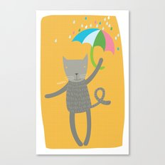 a cat is always prepared for the rain Canvas Print