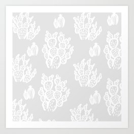 Prickly Pear Grey Cacti Art Print