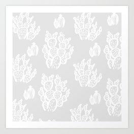 Prickly Pear Grey Cacti Art Print