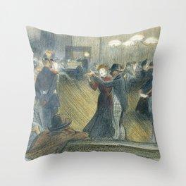 "Théophile Steinlen ""Le Bal Musette: The Dance"" Throw Pillow"