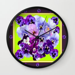 SPRING COLLECTION PURPLE-PINK PANSIES DESIGN Wall Clock