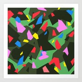 Green\Red\Blue\Black\Grey\Pink Geometric camo Art Print