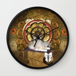 Steampunk, cute cat Wall Clock