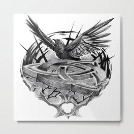 Triquetra crow flight Metal Print