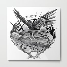 Triquetra crow flight Metal Print