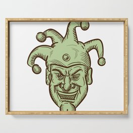 Demented Medieval Court Jester Drawing Serving Tray