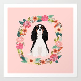 Cavalier king charles spaniel tricolored dog floral wreath dog gifts pet portraits Art Print