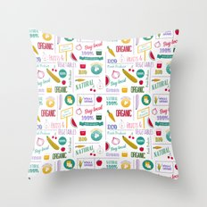 Farmers market pattern - white Throw Pillow