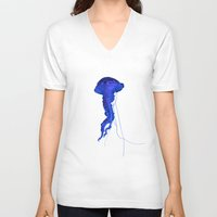 jellyfish V-neck T-shirts featuring Jellyfish by RichCaspian