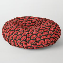 Exotic Red Chinese Dance Fans on Black Floor Pillow