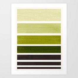Olive Green Minimalist Watercolor Mid Century Staggered Stripes Rothko Color Block Geometric Art Art Print