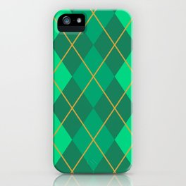 Emerald Green and Gold Argyle Pattern iPhone Case