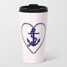 Blush pink chevron navy blue vintage nautical anchor Travel Mug