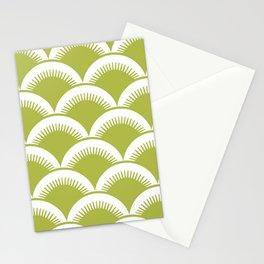 Japanese Fan Pattern Chartreuse Stationery Cards