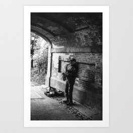 Bridge Busker Art Print