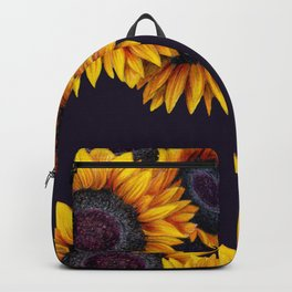Sunflowers yellow navy blue elegant colorful pattern Backpack