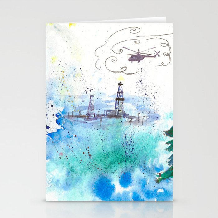 Oil drilling Stationery Cards