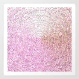 Pink and White Flower Mandala Art Print