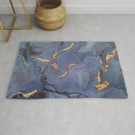 Mojave Purple Turquoise - an original encaustic painting Rug