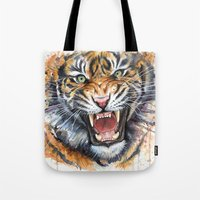 tiger Tote Bags featuring Tiger by Olechka