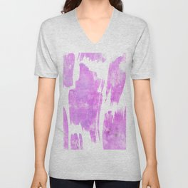 Modern artistic pink white watercolor trendy brushstrokes Unisex V-Neck