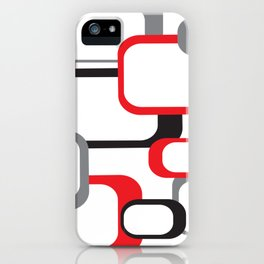 Red Black Gray Retro Square Pattern White iPhone Case