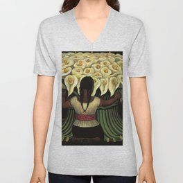 1941 Classical Masterpiece Calla lily 'Flower Seller' by Diego Rivera Unisex V-Neck
