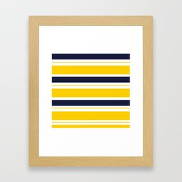 Yellow and Blue Horizontal Lines Stripes Framed Art Print