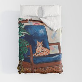 Ginger Cat on Blue Mid Century Chair Painting Duvet Cover