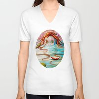 siren V-neck T-shirts featuring Siren  by Amanda Sharples Illustration