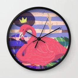 king pink flamingo Wall Clock