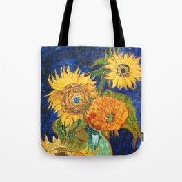 Van Gogh, Five Sunflowers 1888 Artwork Reproduction, Posters, Tshirts, Prints, Bags, Men, Women, Kid Tote Bag