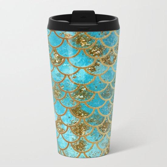 Aqua Teal and Gold Glitter MermaidScales - Mermaid Scales and Sea Foam Metal Travel Mug