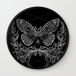 Moth Floral Wall Clock