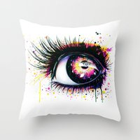 "pixies Throw Pillows featuring ""Follow me into wonderland"" by PeeGeeArts"