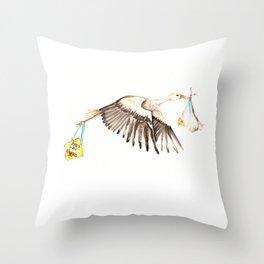 Baby on Bird Throw Pillow