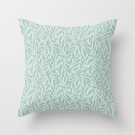 Seaweed Breeze Seafoam Leaves Throw Pillow