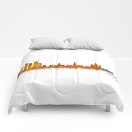 Moscow City Skyline art HQ v2 Comforters